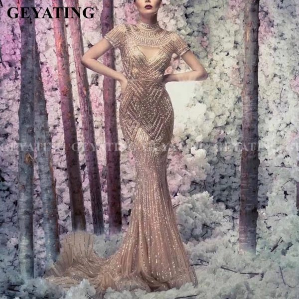 Crystal Mermaid Arabic Evening Gowns