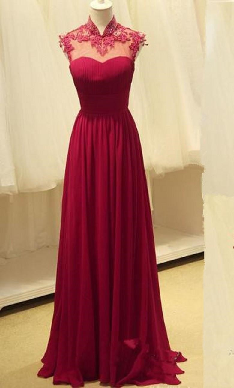 High Neck Prom Dresses Chiffon Dress