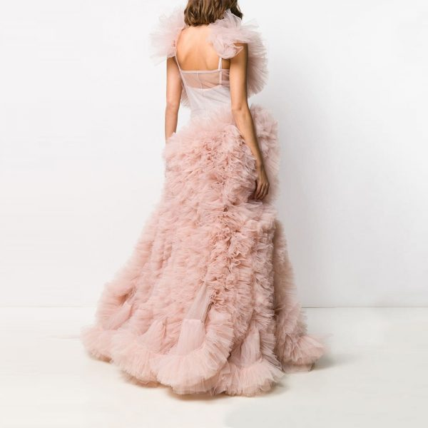 Tiered Pink Tulle Prom Dresses