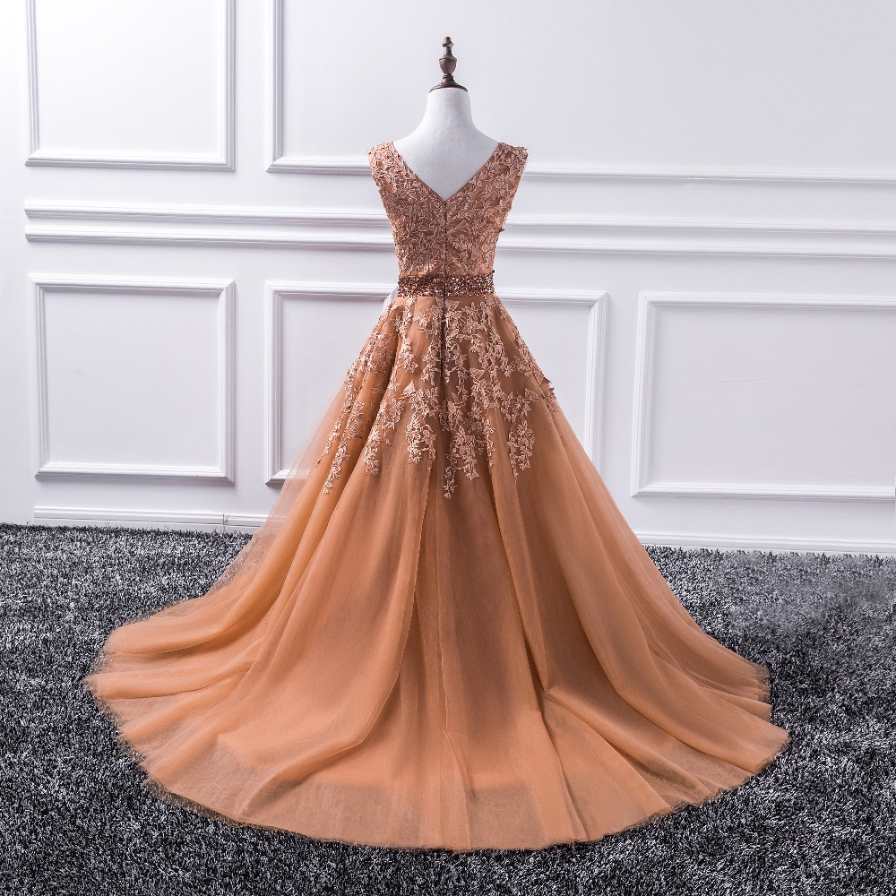 Long Prom Dresses Appliques Princess Ball Gown