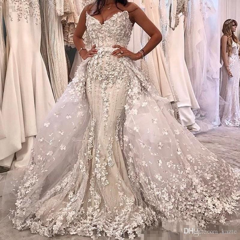 3D Floral Appliques Mermaid Wedding Dress
