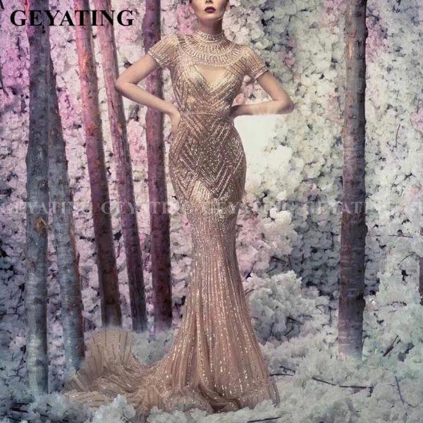 Crystal Mermaid Arabic Evening Gowns