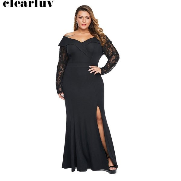 Elegant Evening Dress Split Formal Gowns