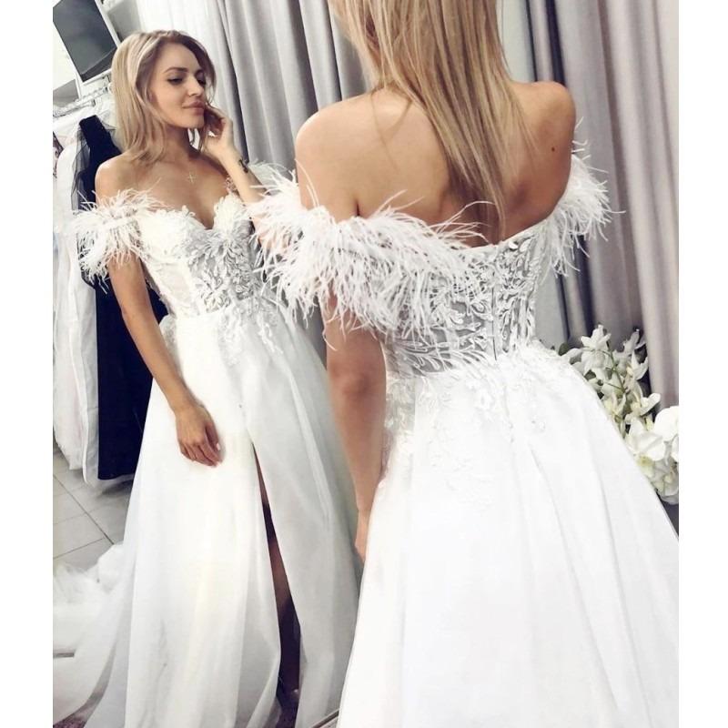 Feather Wedding Dresses Appliques Lace