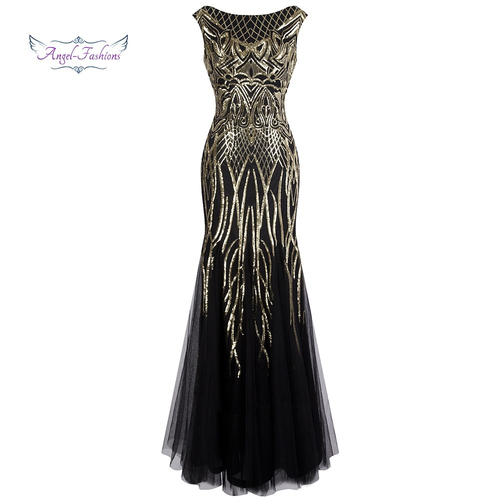 Golden Sequin Ball Gown Prom Dresses