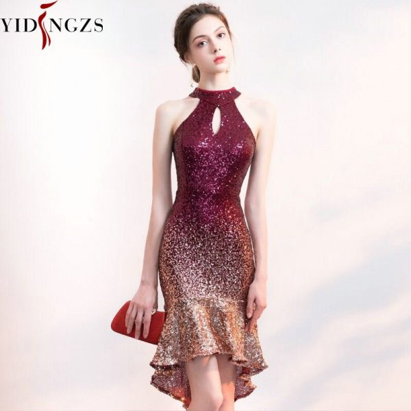 Halter Elegant Sequin Prom Dress