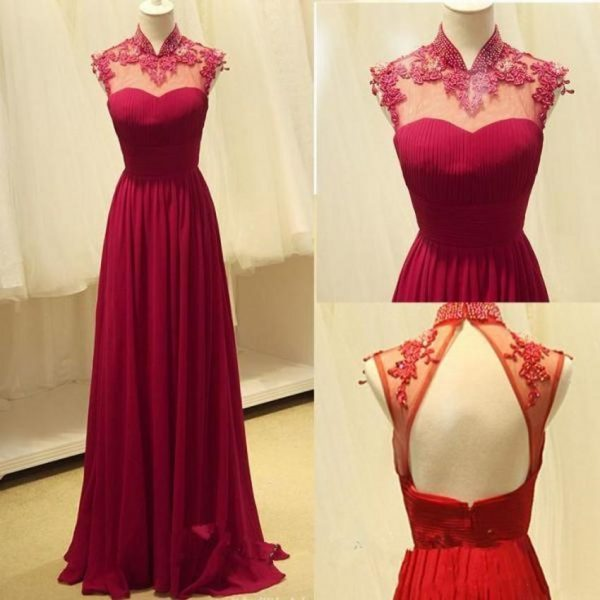 High Neck Prom Dresses Chiffon Dress