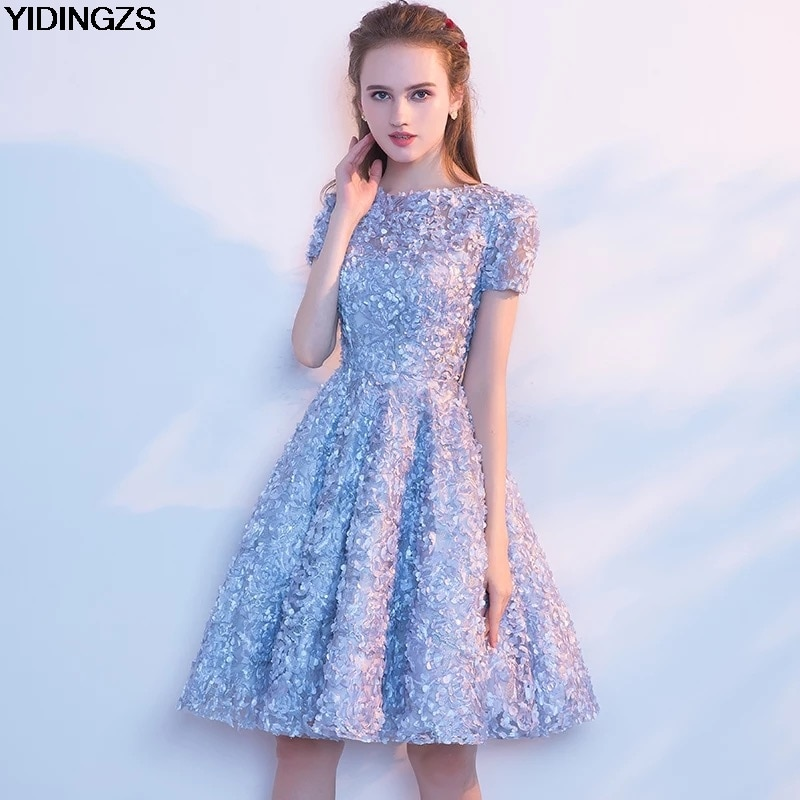 Lace Prom Dress Simple Short Party Formal Gown