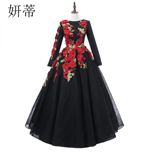 Long Sleeve Ball Gown Prom Dresses Applique Flowers