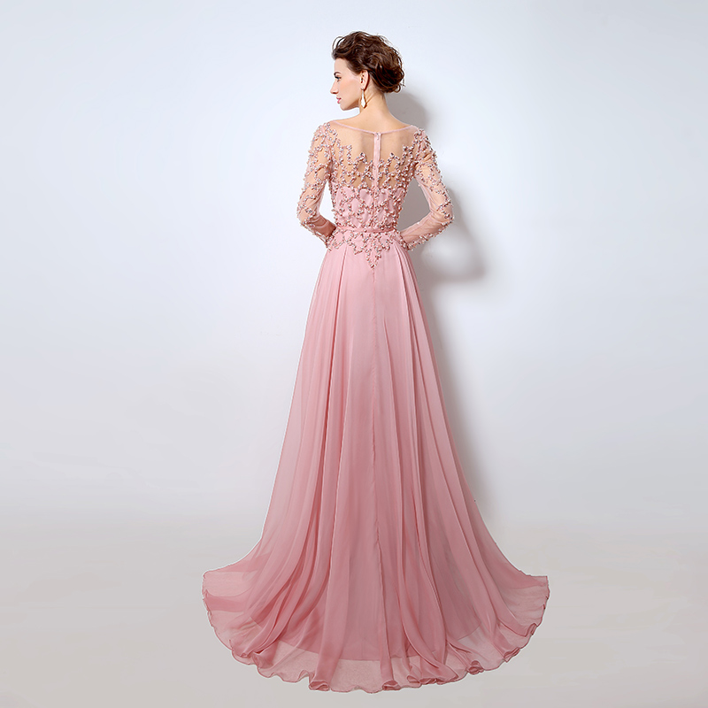 Long Sleeves Evening Dresses Prom Gowns