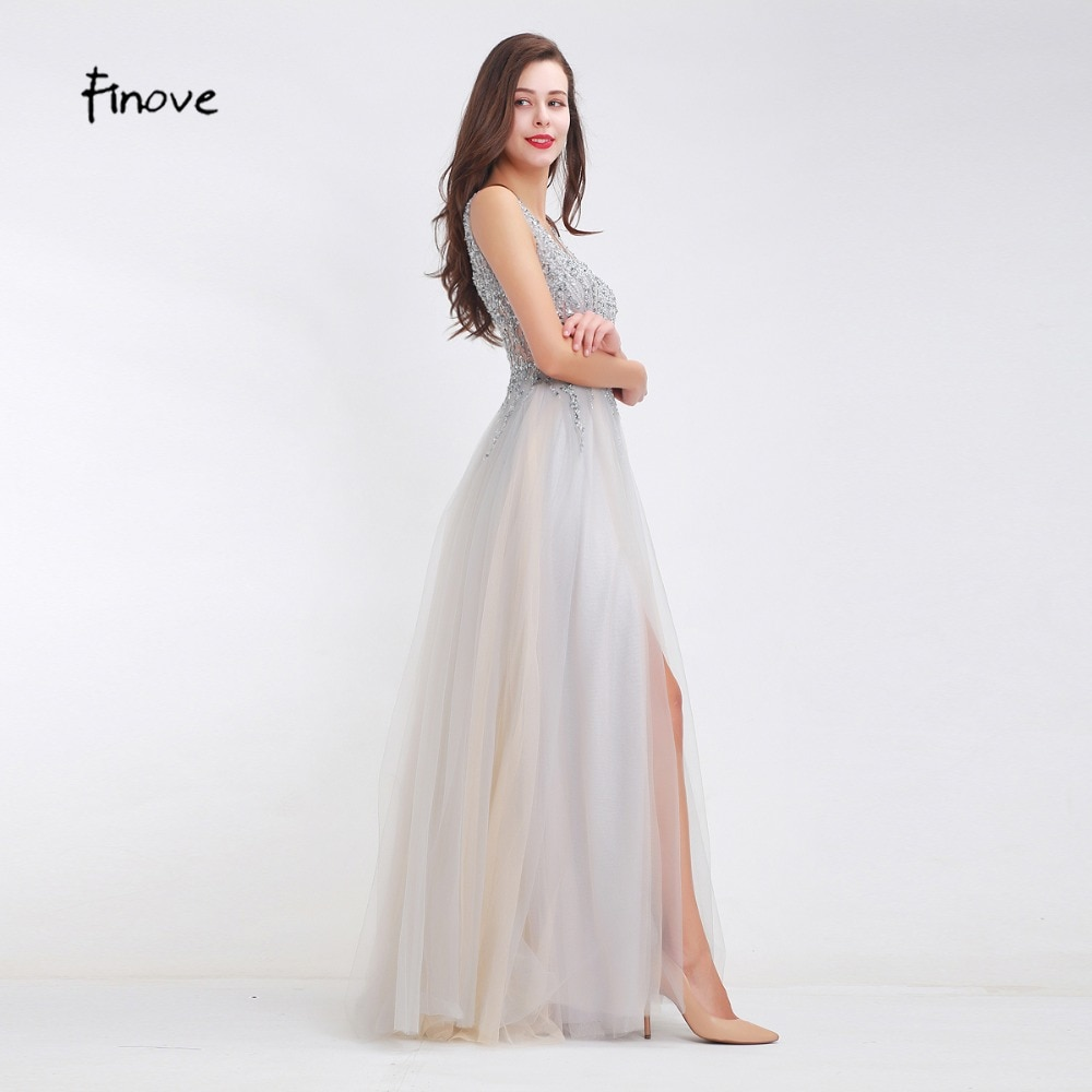 Sexy Light Illusion Tulle Beading A-Line Long Prom