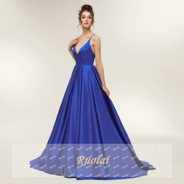 Sexy Prom Dresses Satin Spaghetti Strap Party Dress