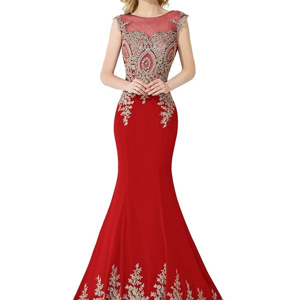 Sexy Sheer Lace Mermaid Long Prom Dresses