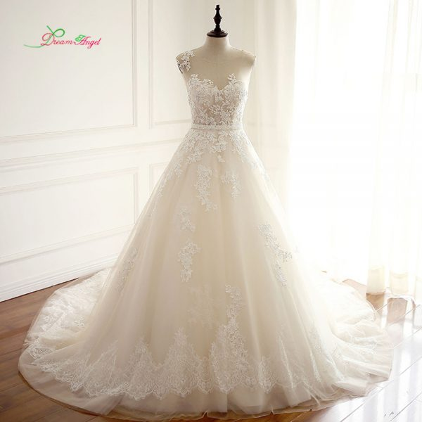 Wedding Dresses Appliques Beaded Sashes Bridal Gown