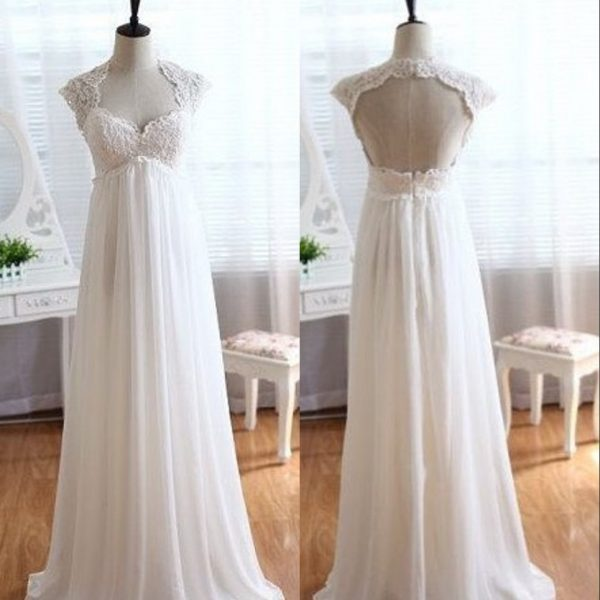 Wedding Dresses Pregnant Cap Sleeve Chiffon Wedding Dress