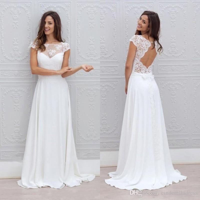 Wedding Dresses Pregnant Cap Sleeve Chiffon Wedding Dress
