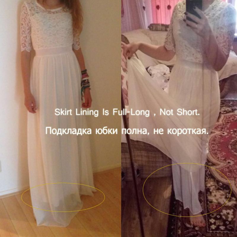 Women Floral Lace Long Dress Chiffon Dress