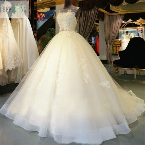 Gown Wedding Dress Chapel Train Beading Bridal Gown