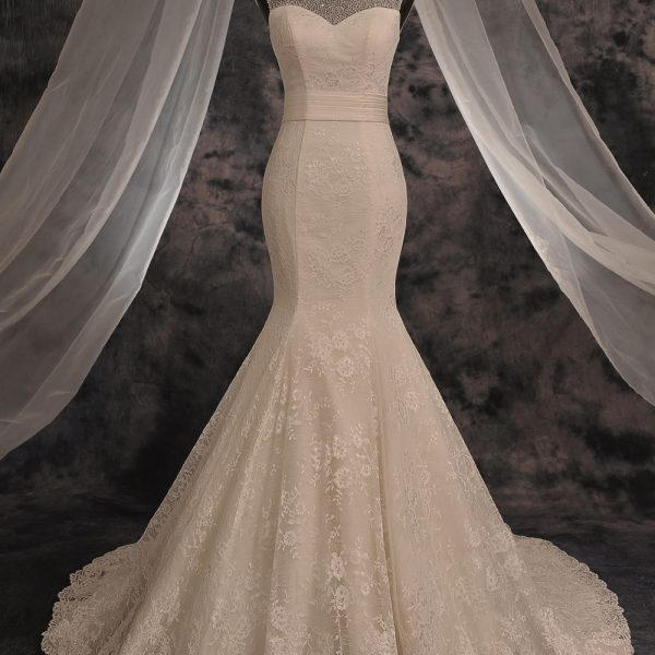Lace Sexy Mermaid Wedding Dresses Shinny Crystals