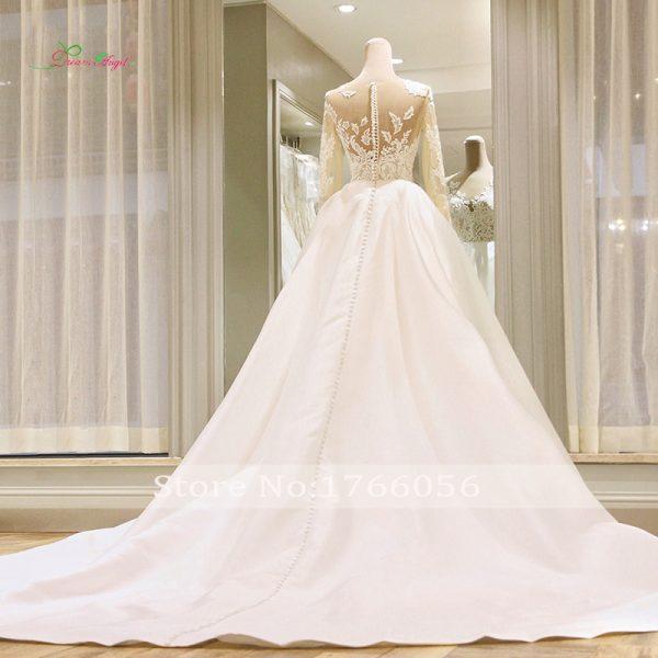 Long Sleeve Vintage Wedding Dresses Lace Bride Gowns
