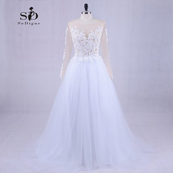 Long Sleeve Wedding Dress Tulle Gown Vestido