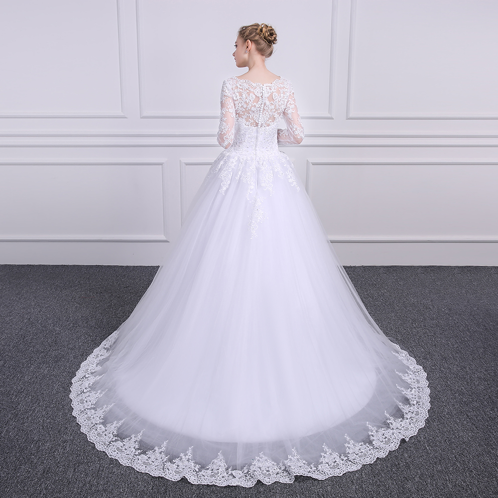 Long Sleeves Appliques Wedding Dress Bridal Ball Gown