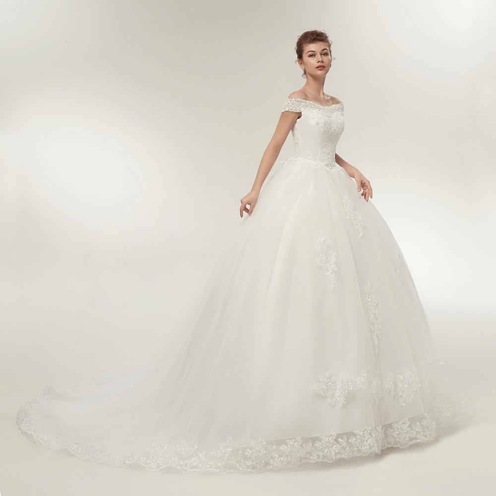 Long Train Wedding Dresses Bling Bridal Gowns