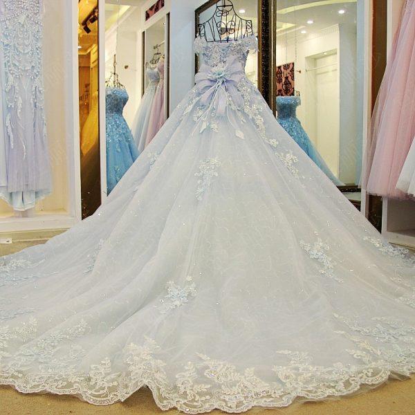 Luxury Flowers Appliques Glitter Tulle Wedding Dress