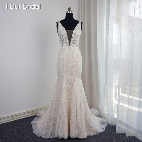 Mermaid Wedding Dress Pearl Beaded Sleeveless