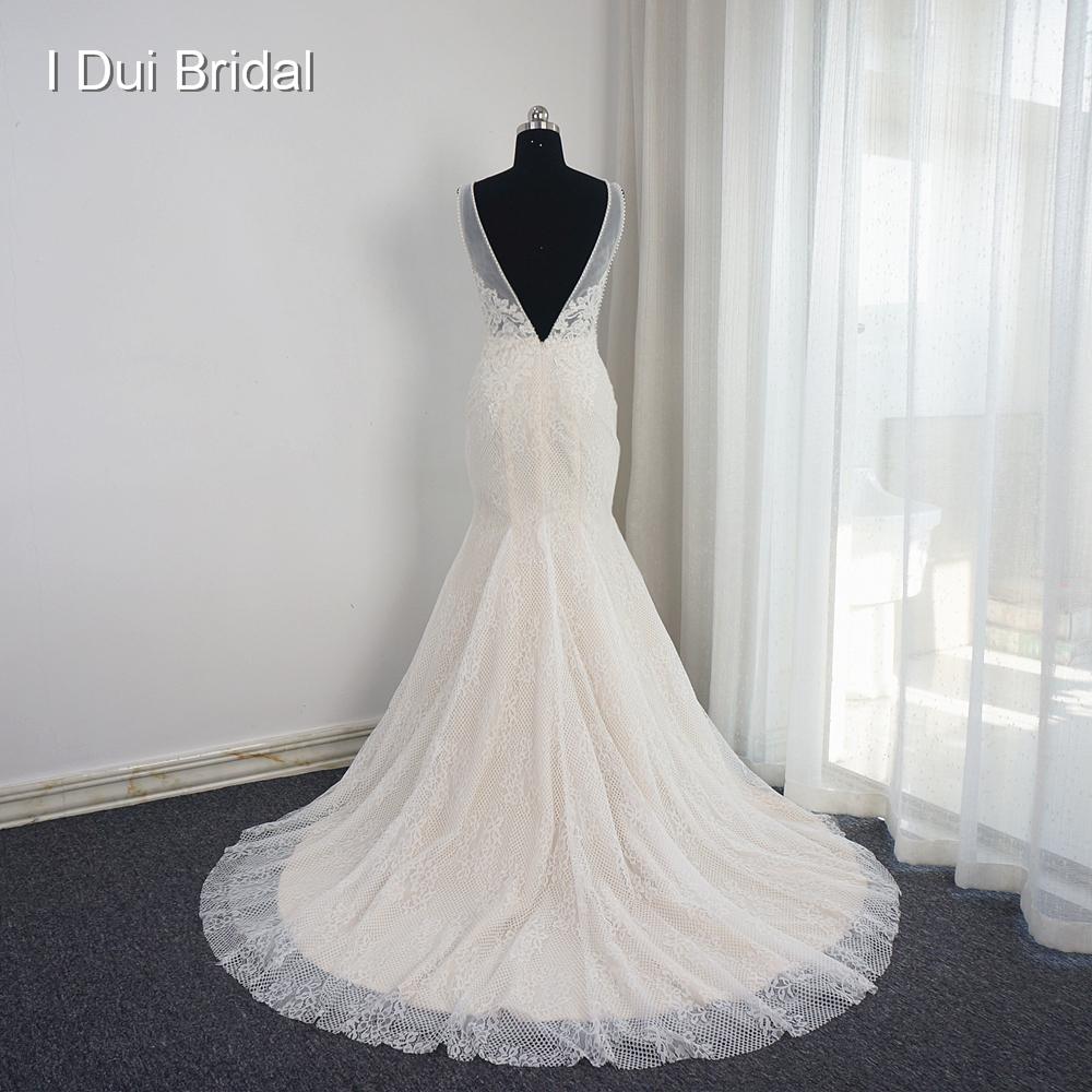 Mermaid Wedding Dress Pearl Beaded Sleeveless