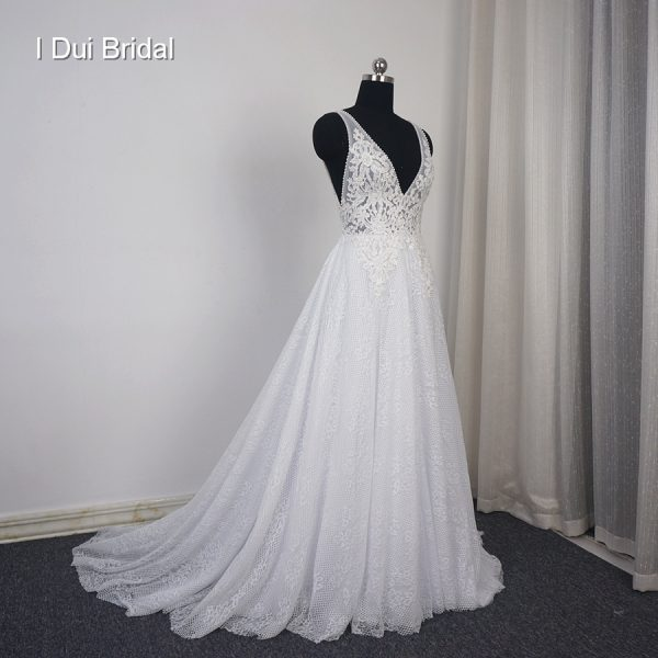 Noiva V Neck Wedding Dresses Beach Bridal Gown