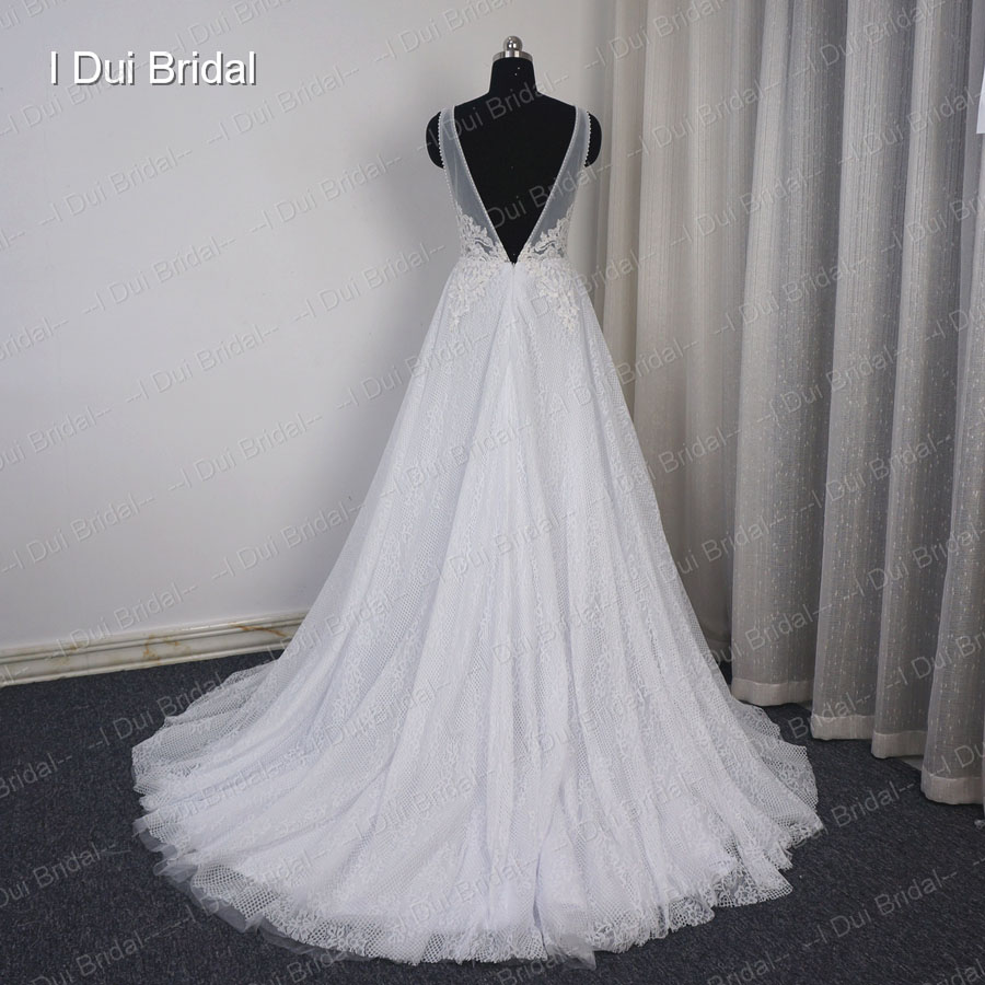 Noiva V Neck Wedding Dresses Beach Bridal Gown