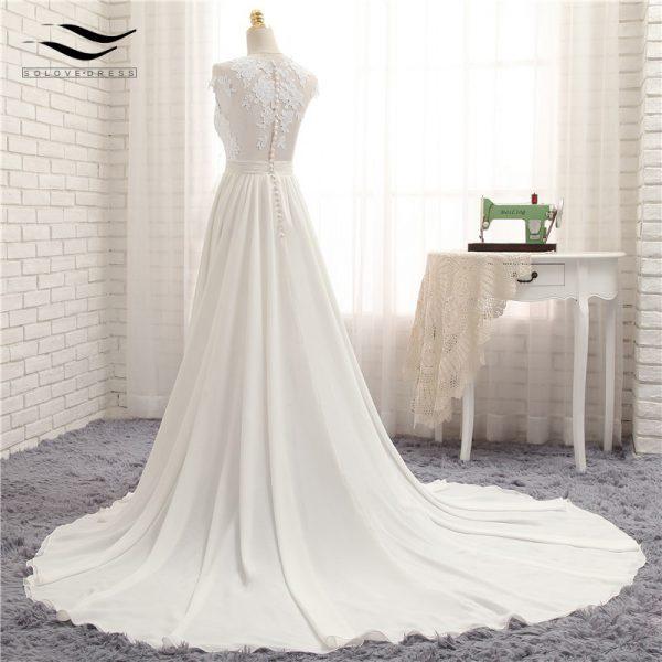 Sexy V-neck Chapel Train Beach Wedding Dresses