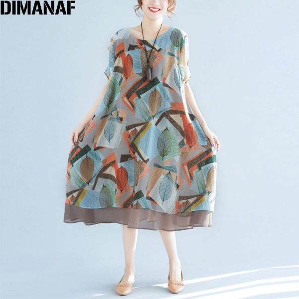 Summer Women Chiffon Dress Print Loose Dresses