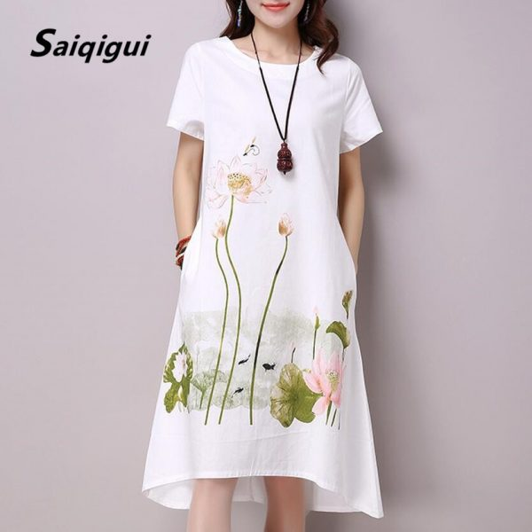 Women Dress Casual Cotton Linen Dress Lotus Printing