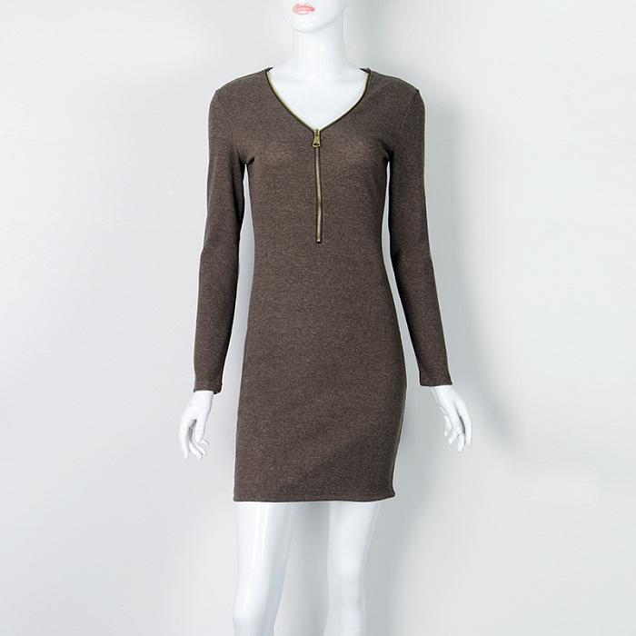 Women Dresses Zipper O-neck Sexy Knitted Dress