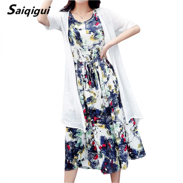 Women Summer Dresses Casual Cotton Line Dress