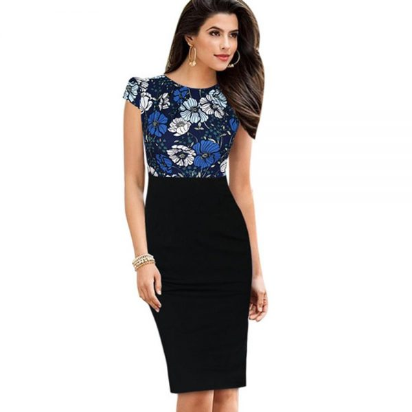Bodycon Knee Women Office Pencil Dress