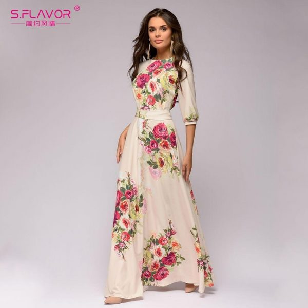 Bohemian Women Dress Floral Print Beach Dresses