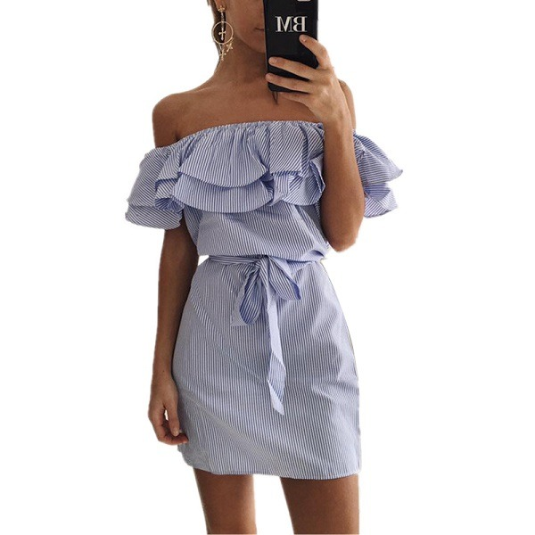 Butterfly Sleeve Dresses Striped Mini Dress
