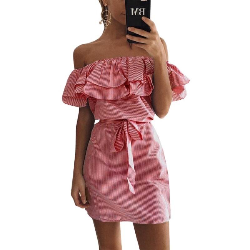 Butterfly Sleeve Dresses Striped Mini Dress