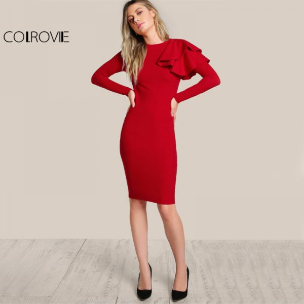 Elegant Bodycon Dress Sexy Midi Dress