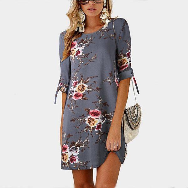 Floral Print Chiffon Beach Dress Tunic Sundress