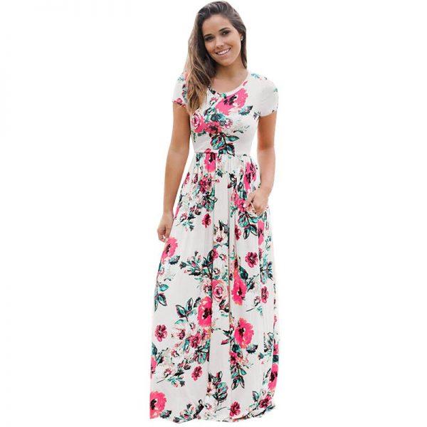 Floral Printed Boho Long Dress Loose Maxi Dresses