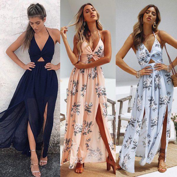 Maxi Long Dress Evening Beach Dresses Floral Halter Dress