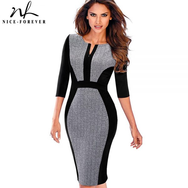 Retro Contrast Patchwork Wear Office Bodycon Dress