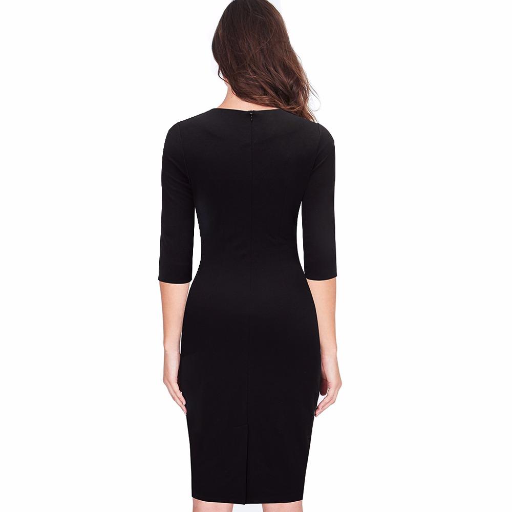 Retro Contrast Patchwork Wear Office Bodycon Dress