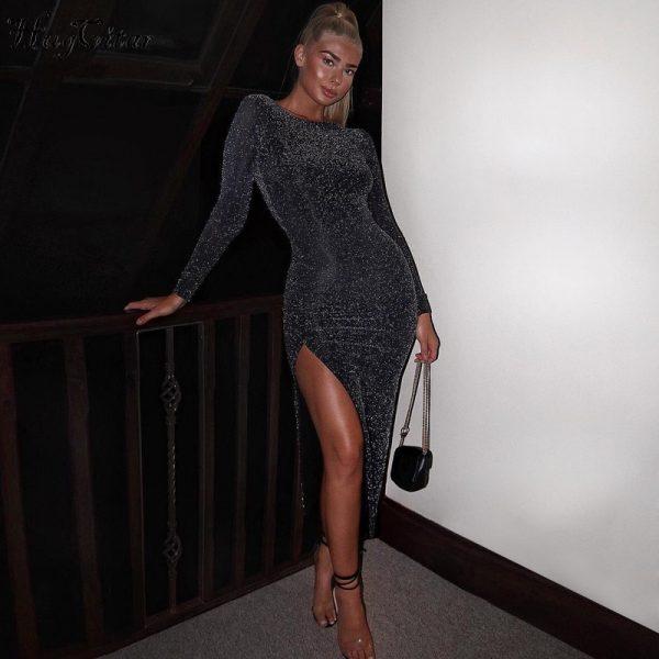 Sexy Party Dress High Waist Split Dress Club Dresses