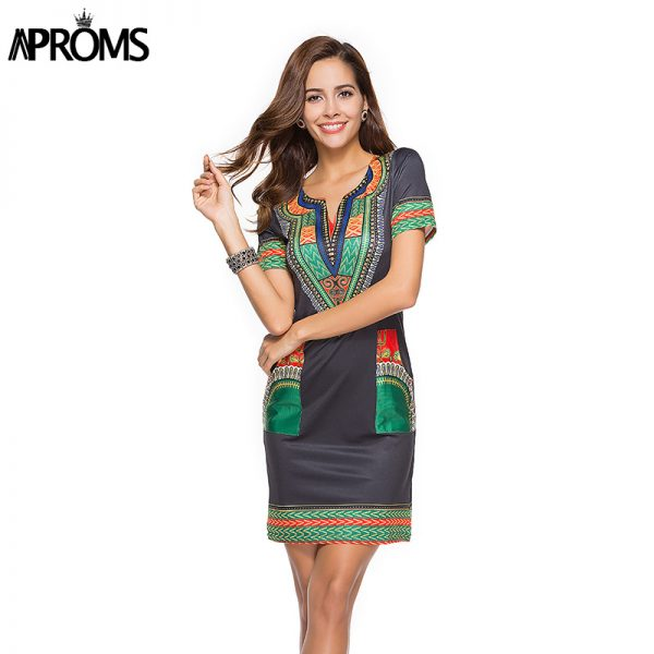 Sexy V Neck Pocket Patchwork Bodycon Tunic Dress