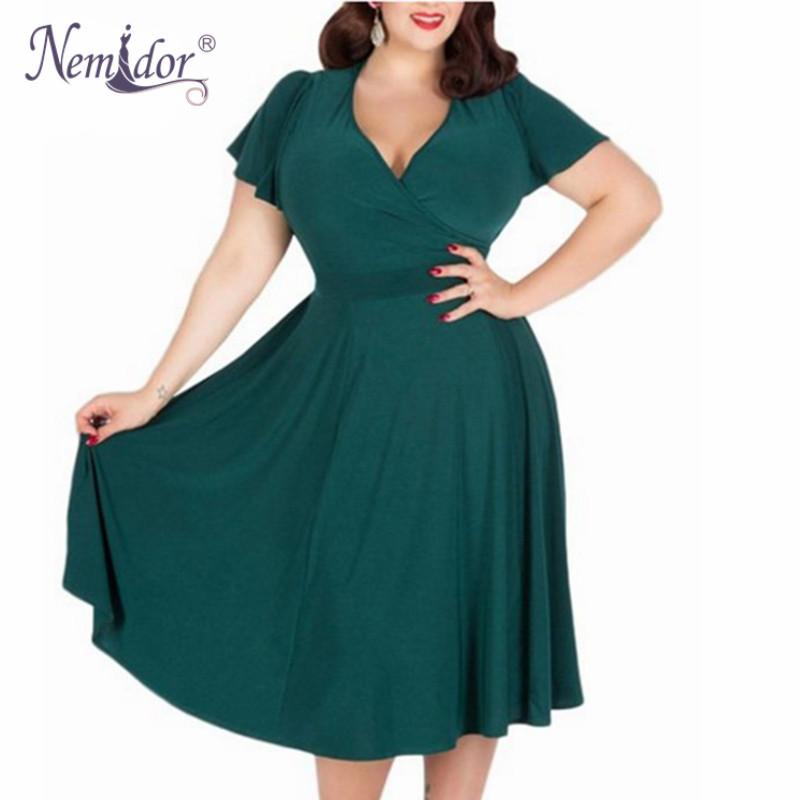 Sexy V-neck Short Sleeve Cocktail Swing Dress
